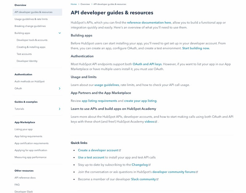 HubSpot API documentation overview