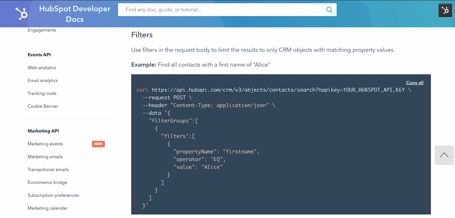 HubSpot API documentation includes code examples for the CRM API endpoint