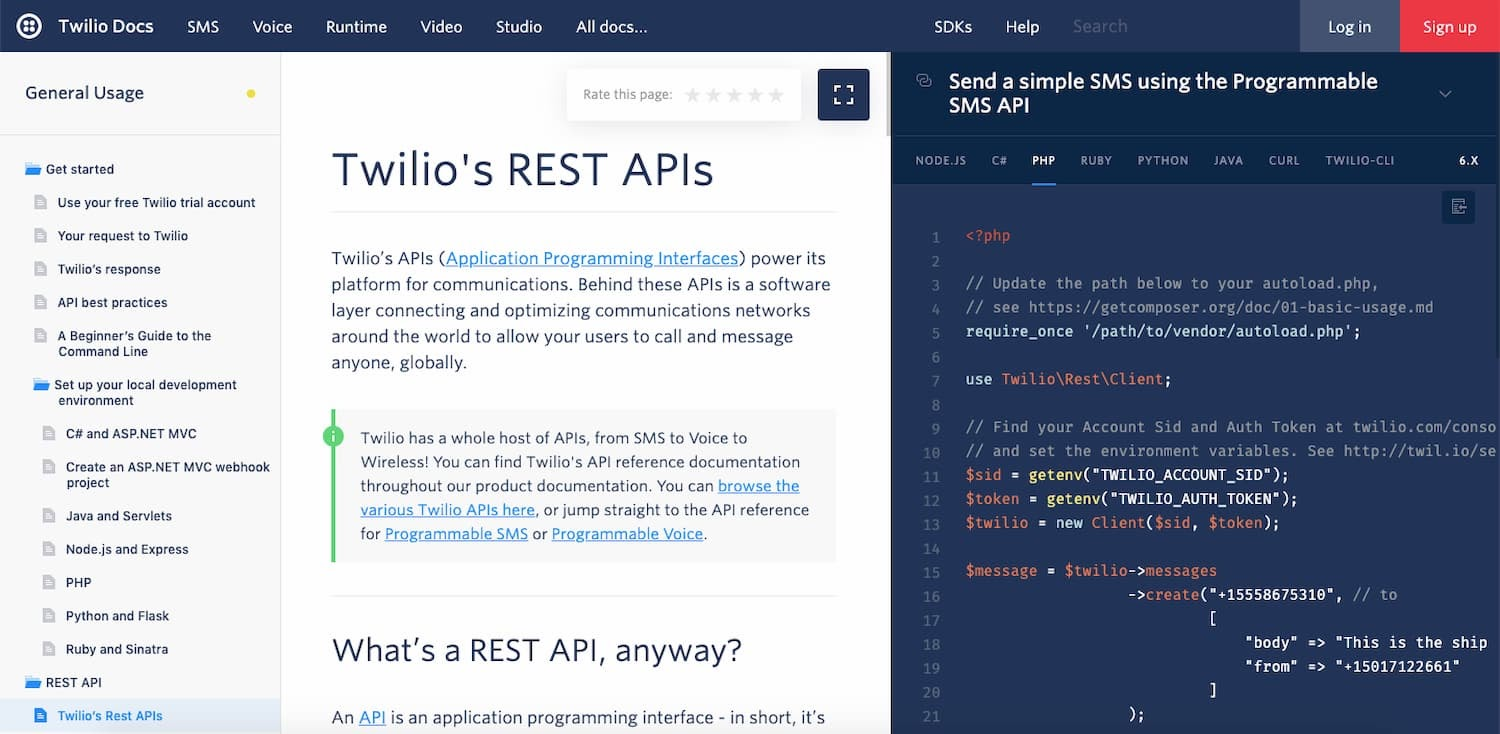Twilio's REST API documentation is clearly written for humans