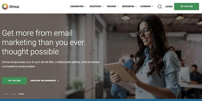 Litmus landing page inviting user to sign up for free trial