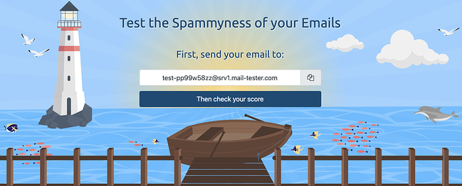 User inputing email address on Mail-tester landing page