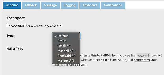 Selecting default mailer type in Post SMTP plugin settings page