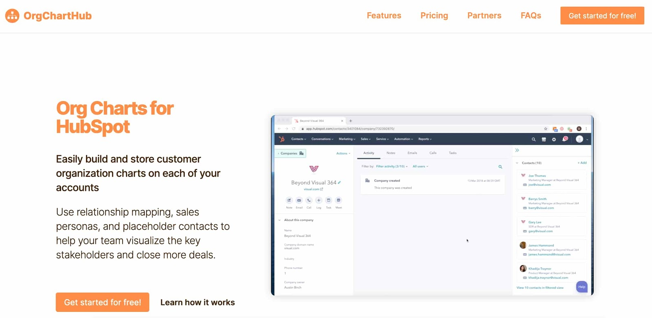 orgcharthub example of a b2b sales tool