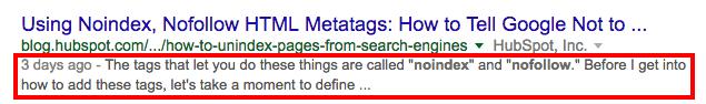 example of a meta description on Google