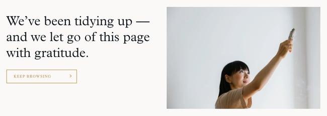 404 error page example from the website mario kondo