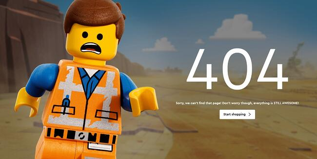 404 error page example from the website lego