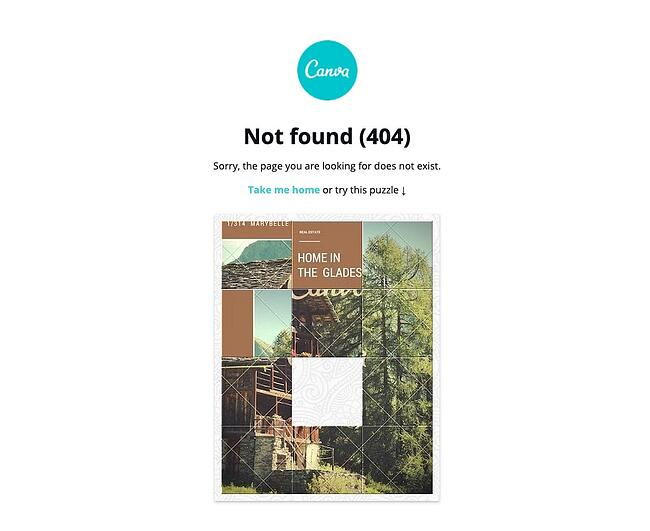 404 error page example from the website canva