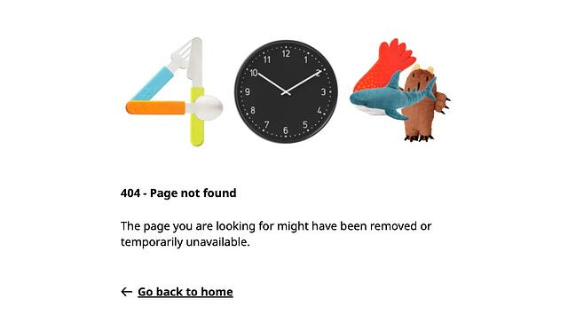 404 error page example from the website ikea