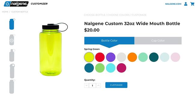 example of wordpress tabs on nalgene's website