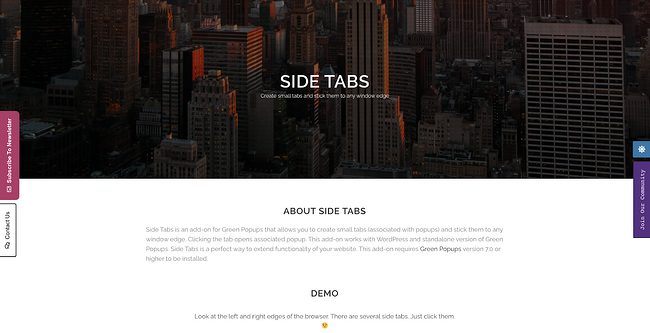 product page for the wordpress tab plugin side tabs