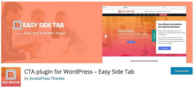 product page for the wordpress tab plugin easy side tab