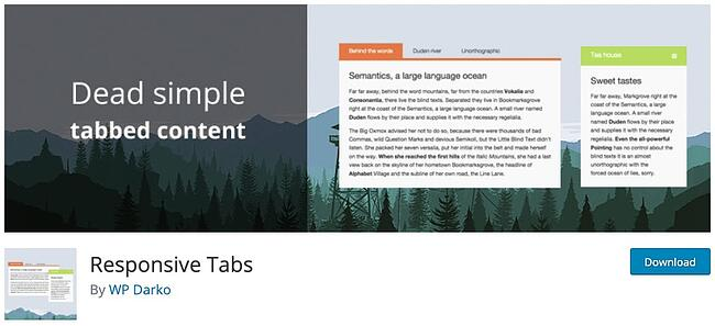 product page for the wordpress tab plugin responsive tabs by wp darko