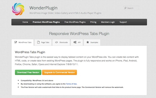 product page for the wordpress tab plugin wonder tabs