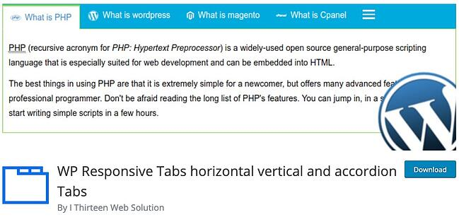 product page for the wordpress tab plugin responsive tabs