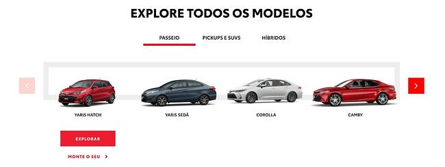 example of wordpress tabs on toyota's website