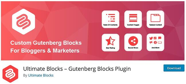 product page for the wordpress tab plugin ultimate blocks