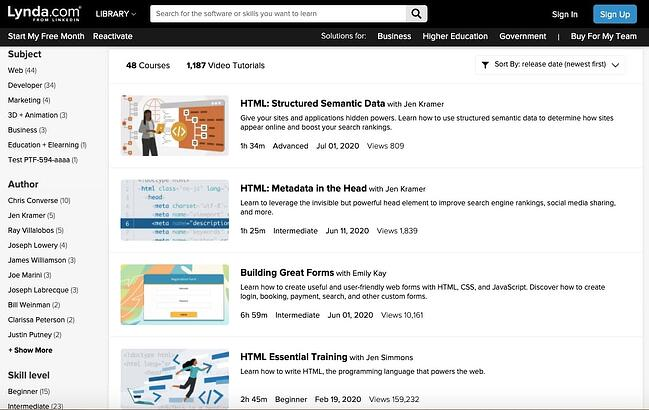 HTML Courses and video tutorials available at Lynda.com