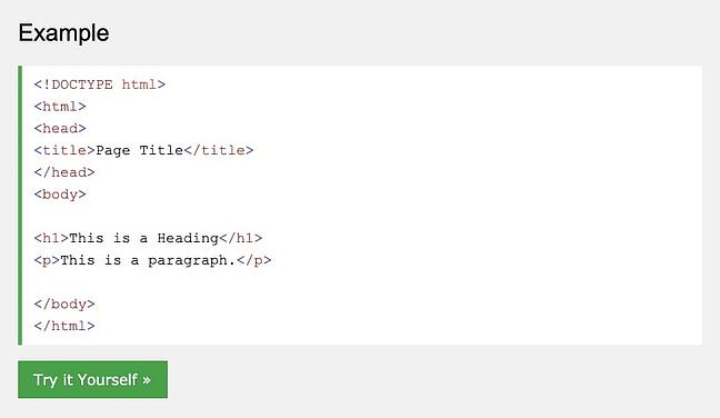 An HTML file example shown in W3Schools TryIt Editor