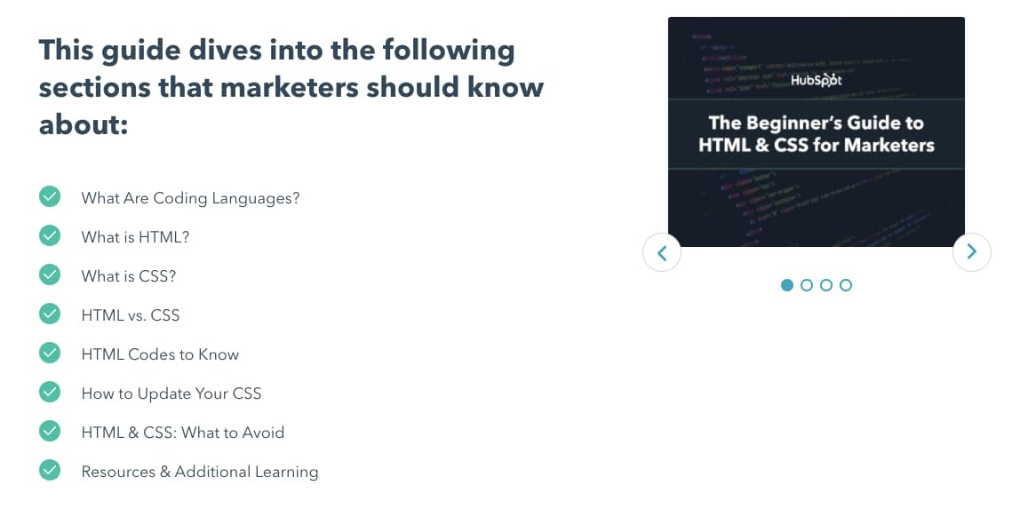 Table of content for HubSpot's Beginner's Guide to HTML & CSS for Marketers