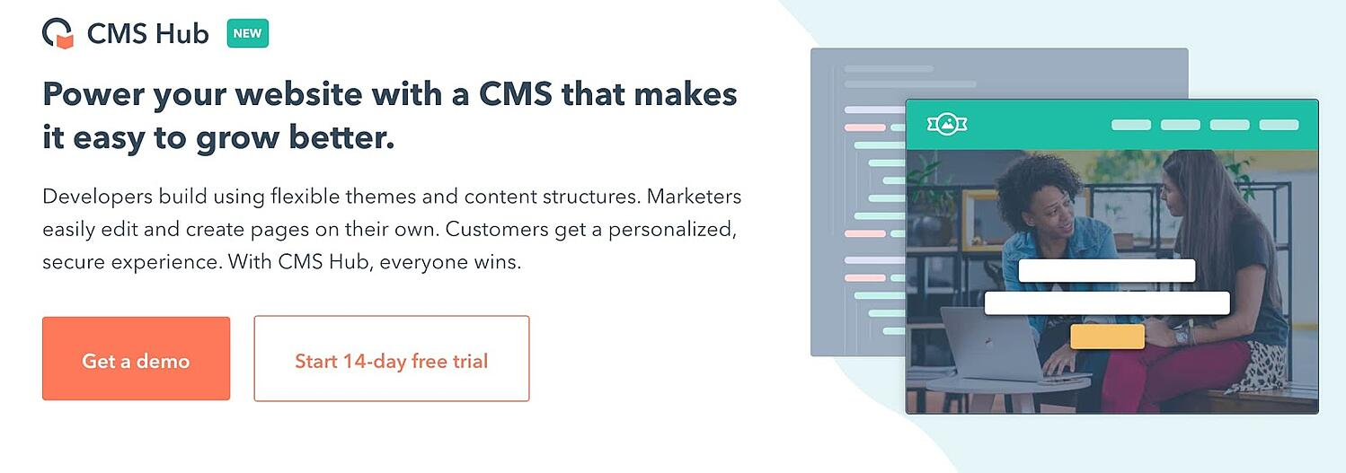 landing page for the CMS Hub content management system