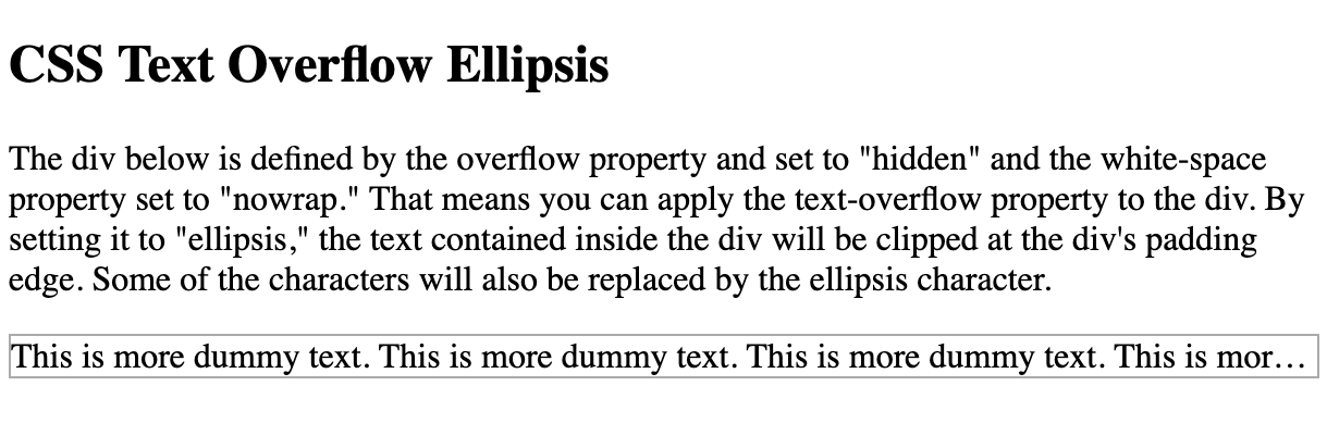 CSS text overflow ellipsis example