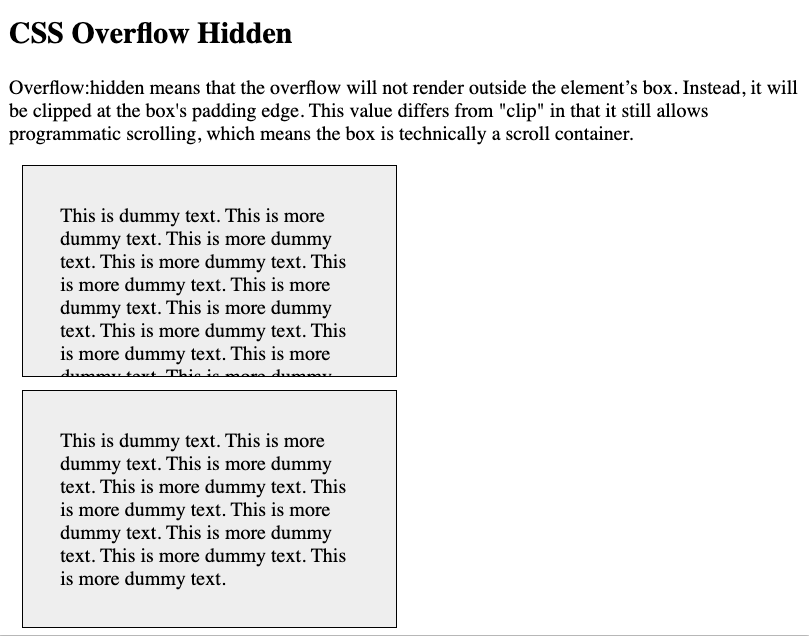 CSS overflow hidden example with text from one div clipped at padding edge
