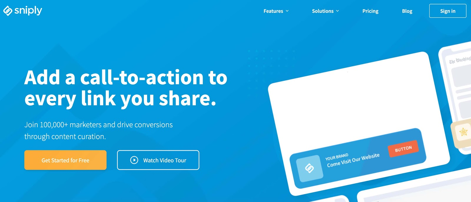 Sniply CTA call-to-action tool