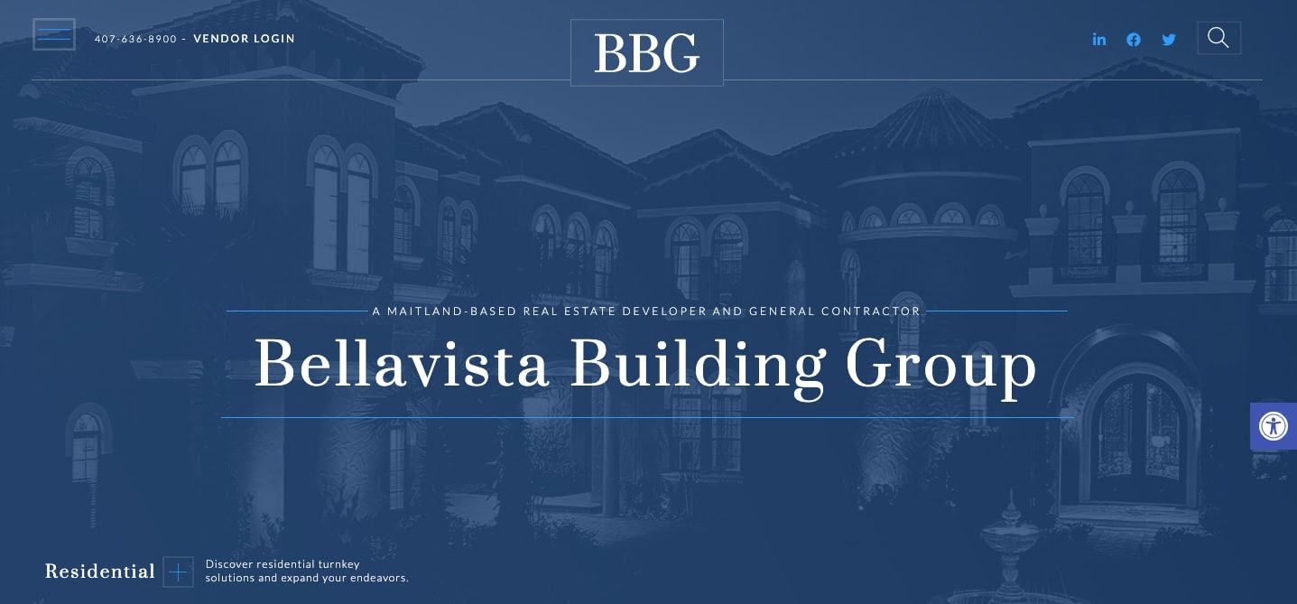 Bellavista Building Group website uses opacity to set text against a slightly transparent background image