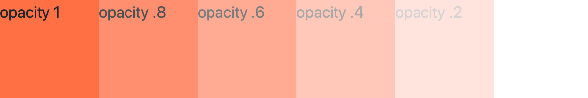 Six div elements side by side styled with the CSS opacity property to go from completely opaque to completely transparent