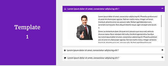 Accordion FAQ plugin example featuring a block of purple color to the left and accordion style FAQs to the right
