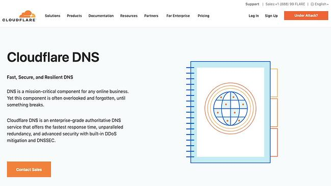 listing page of one of best DNS servers Cloudflare DNS