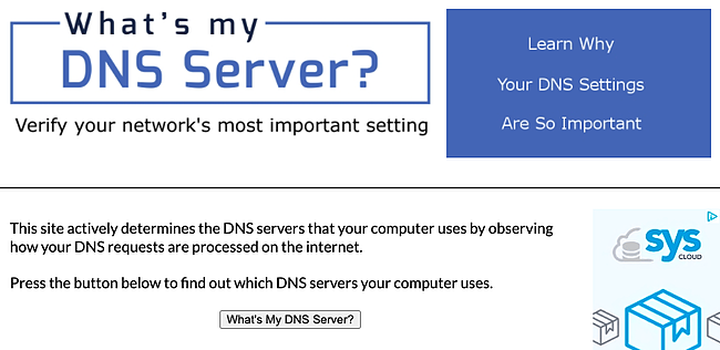 What's my DNS server homepage