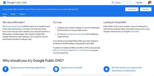 listing page of one of best DNS servers Google Public DNS