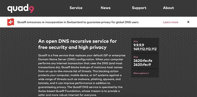 listing page of one of best DNS servers Quad9