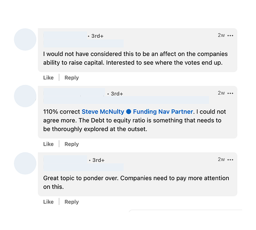 Debt to equity ratio poll from Linkedin and comments reacting to the concept of debt to equity ratio