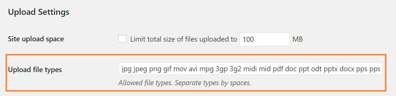 Adding allowed file types in upload settings of WordPress multisite installation
