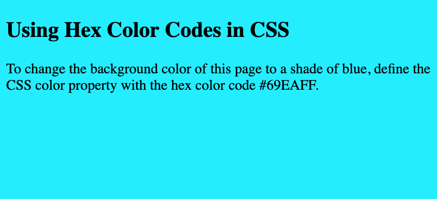 Aqua background color of a web page created with hex color code in CSS
