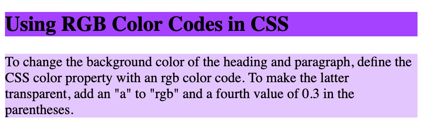 A heading with purple background color and paragraph with transparent color created with rgb color code in CSS