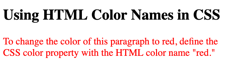 Using HTML color names in CSS to change paragraph text to red