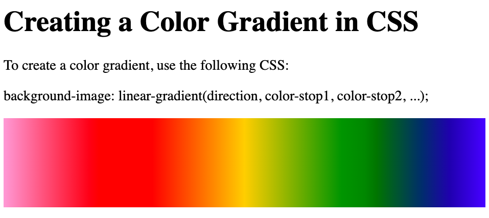 A div element with rainbow color gradient background created in CSS