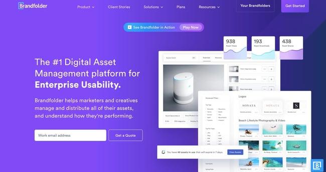 landing page of proprietary digital asset management software Brandfolder