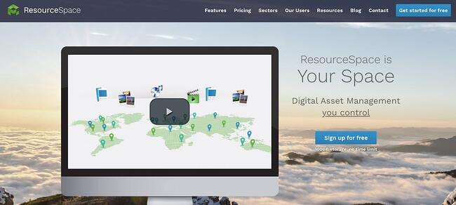 landing page of opensource digitial asset management Resourcespace