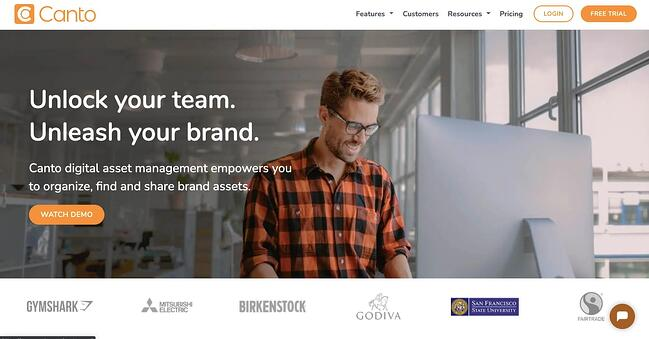 landing page of proprietary digital asset management software Canto