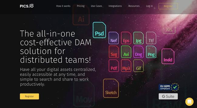 landing page of opensource digitial asset management Pics.io