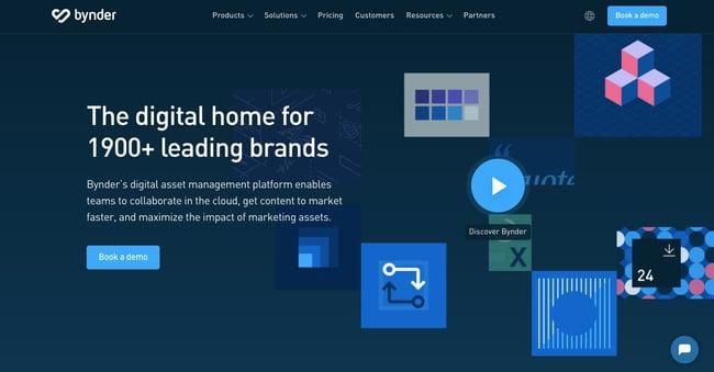 landing page of proprietary digital asset management software Bynder