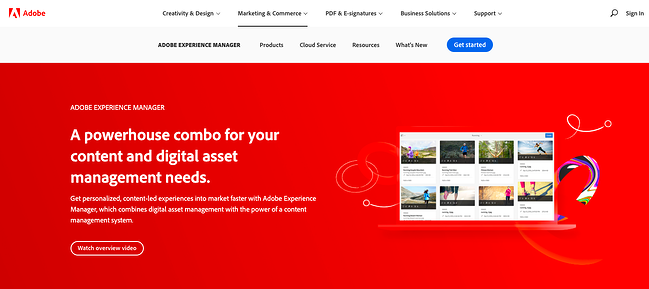 landing page of proprietary digital asset management software Adobe Experience Manager