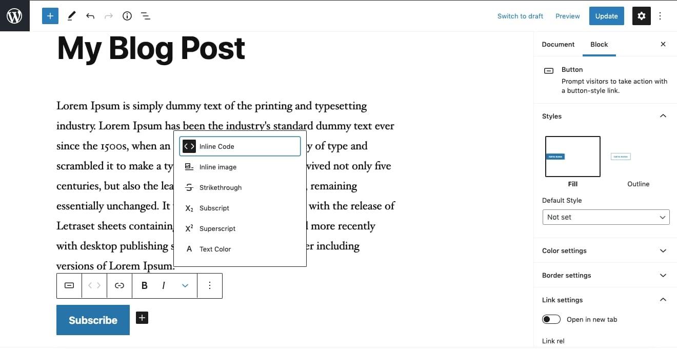 Button toolbar and sidebar settings in Gutenberg editor in WordPress dashboard
