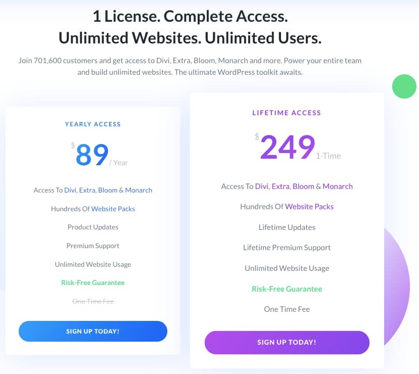 Divi pricing plans offer yearly or liftetime access