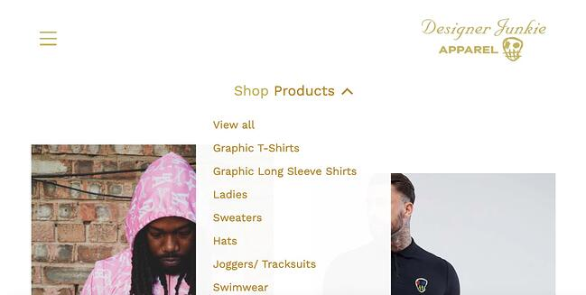 ecommerce website Designer Junkie Apparelhas a dropdown menu to display all its product categories