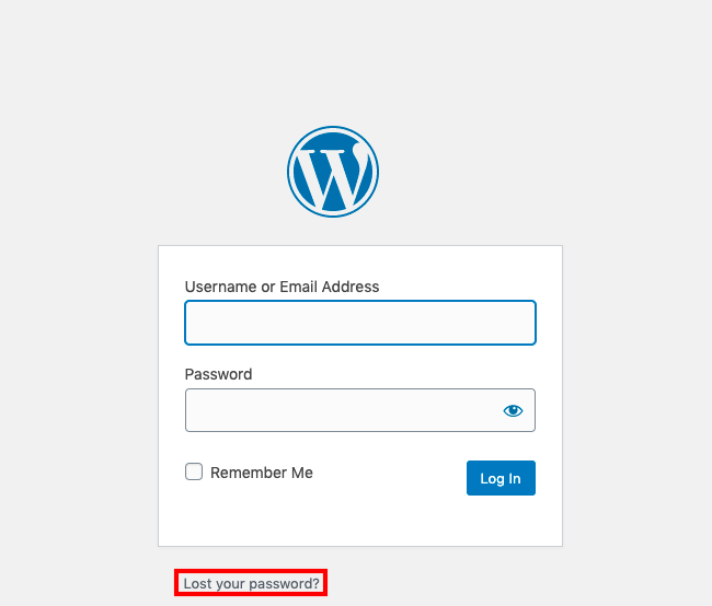 Lost your password feature on a WordPress login page
